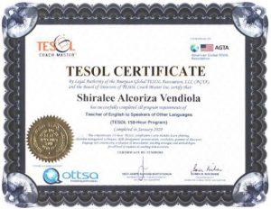 Tesol Certificate Sample
